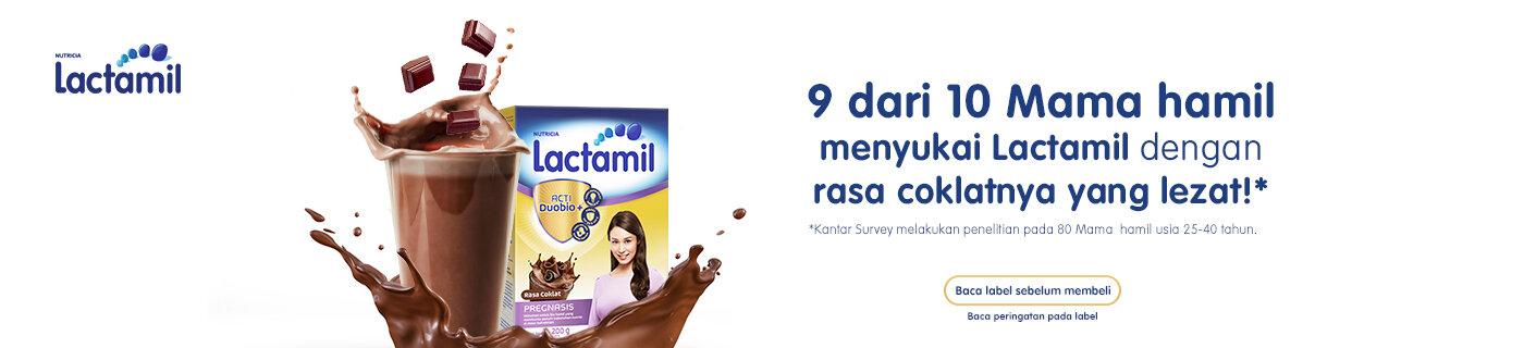 9 dari 10 Mama hamil menyukai Lactamil dengan rasa coklatnya yang lezat!